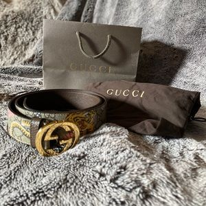 Gucci Supreme Belt with G Buckle Tiger Canvas